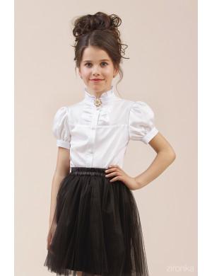 "Блузка белого цвета с коротким рукавом-фонариком ""Брошь"""