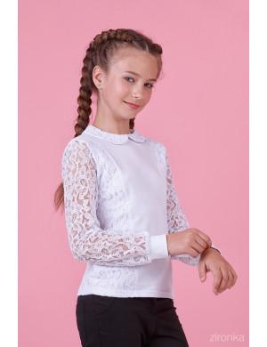 """Блузка белого цвета с отложным воротником """"Стиль гипюр"""""""