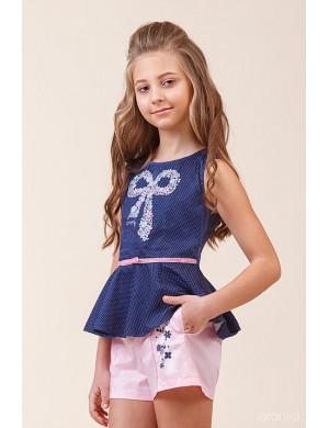 Комплект летний для девочек розовый (блузка с баской и шорты)