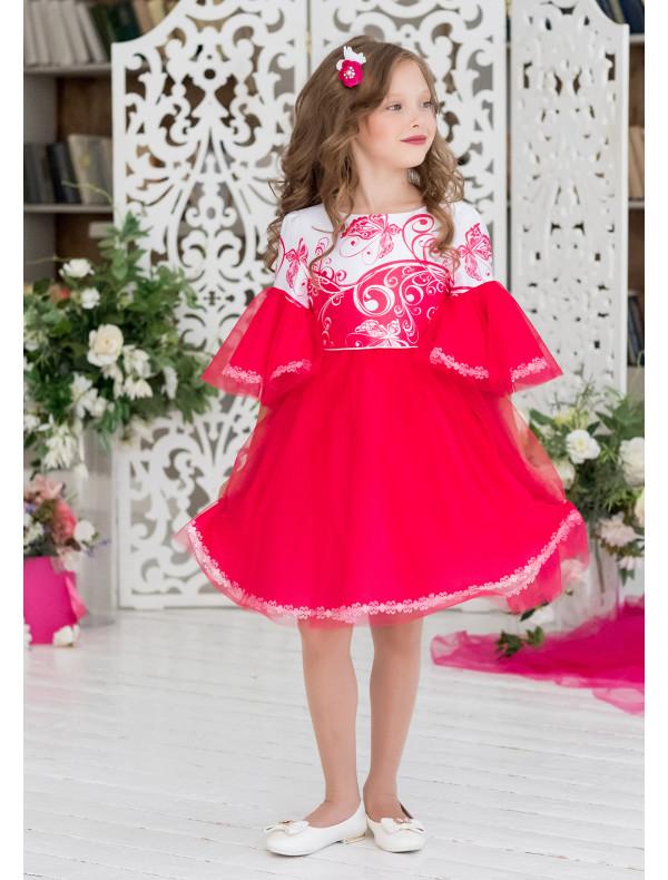 ca427e48f17 Платье нарядное малинового цвета с пышными рукавами Сесиль – Цена ...