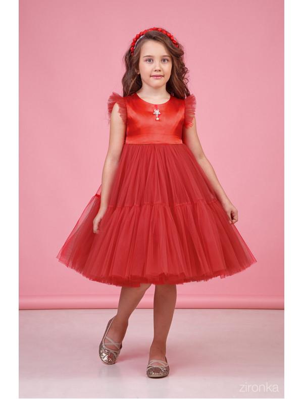 80702c0b4e4 Платье нарядное красное для девочек с многослойной юбкой Одуванчик ...
