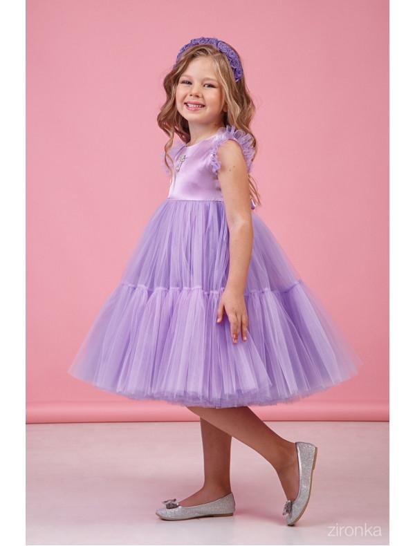 dac937399af Платье нарядное сиреневое для девочек с многослойной юбкой Одуванчик ...