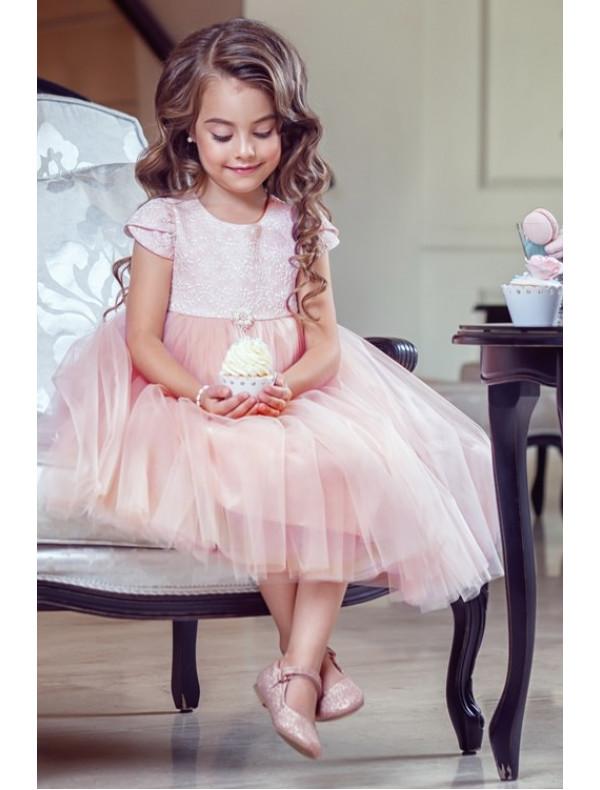 ae6039eb234b713 Платье нарядное цвета пудра с жаккардовым верхом Леди – Цена 3700 ...
