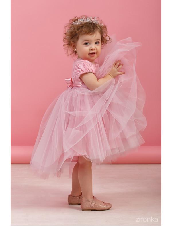 c25b47fe986 Платье нарядное розового цвета с пышной асимметричной юбкой Поленька ...