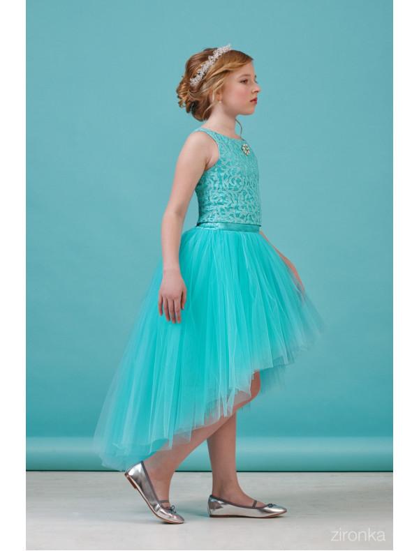2ec1fb1b750 Платье раздельное бирюзового цвета блузка и юбка с шлейфом Кружево ...