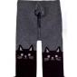 Колготки кашемировые темно-серого цвета с кошками на коленках