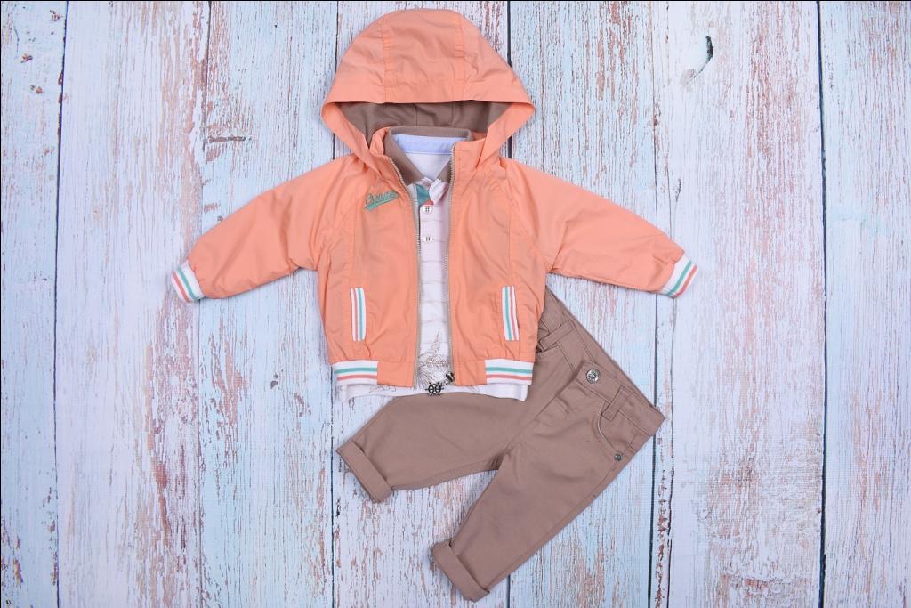 Комплект для мальчиков с оранжевой ветровкой bebus из 3-х предметов