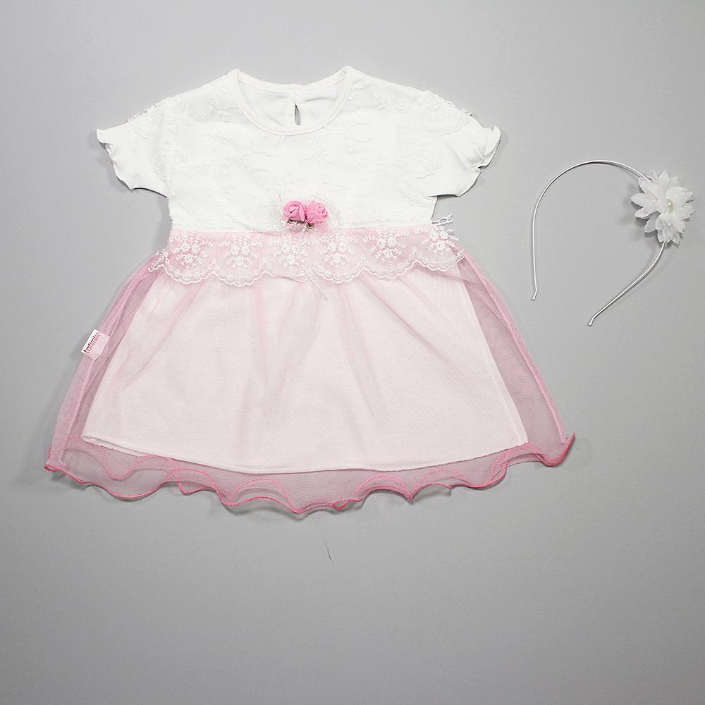 Платье нарядное для малышек с коротким рукавом розовый гипюр
